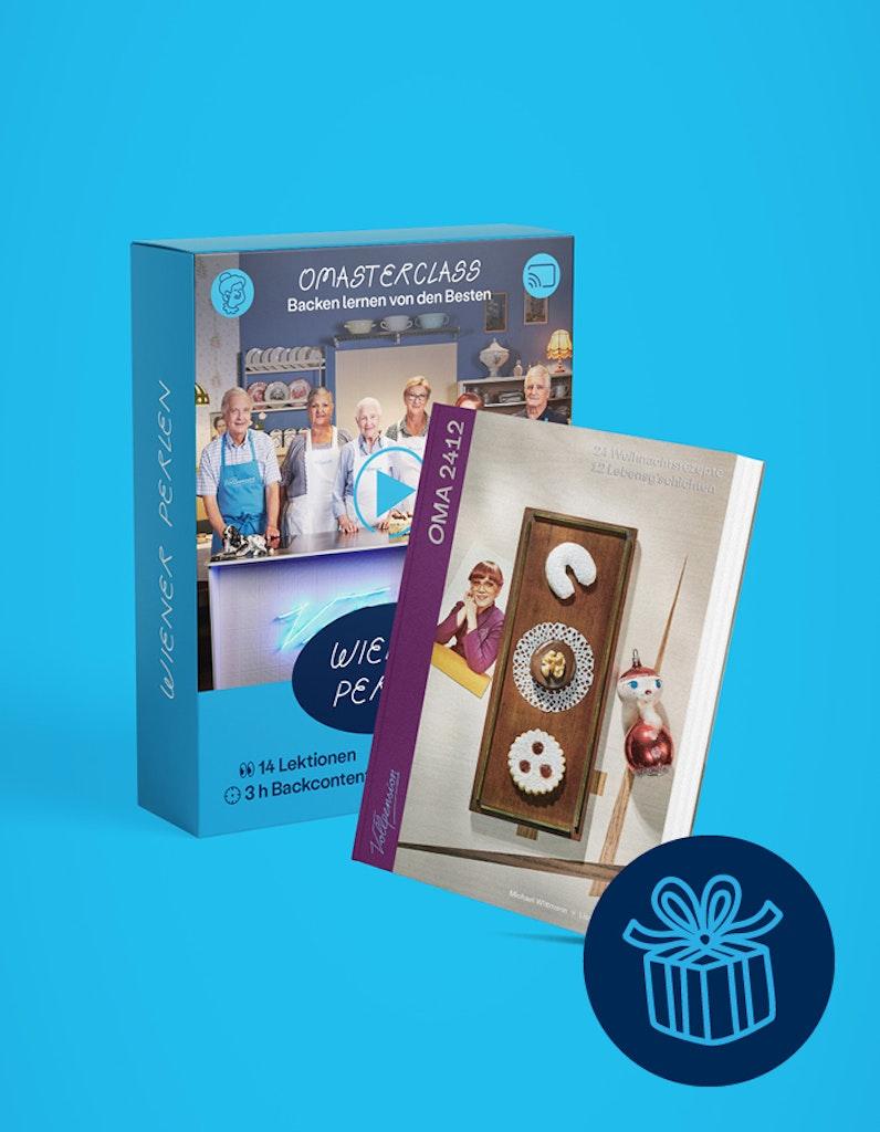 """Geschenkbundle: OMAsterclass """"Perlen der Wiener Mehlspeiskunst"""" und OMA2412-Backbuch"""