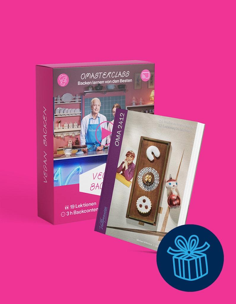 """Geschenkbundle: OMAsterclass """"vegan backen"""" und OMA2412-Backbuch"""